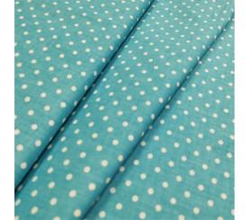 Kropki białe na niebieskim tle 0,4 cm