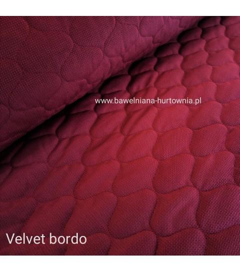 Velvet pikowany w maroko 0,1 mb - bordo