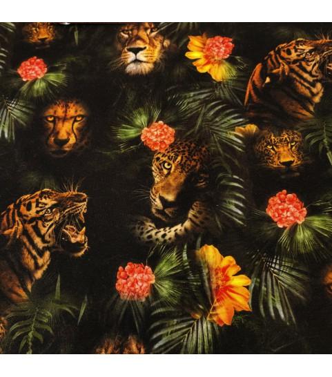 Dzianina pętelka drukowana 0,1 mb - tygrys na czarnym tle