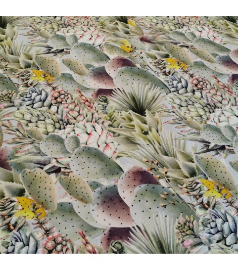 Dzianina pętelka drukowana 0,1 mb - pastelowe kaktusy