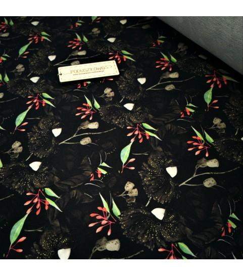 Dzianina pętelka drukowana 0,1 mb - czarna papuga