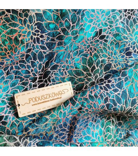 Dzianina pętelka drukowana 0,1 mb - turkusowa mozaika