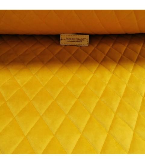 Velvet pikowany w romby 0,1 mb - soft musztarda