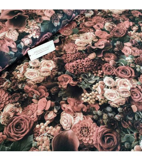 Dzianina pętelka drukowana 0,1 mb - bukiet róż