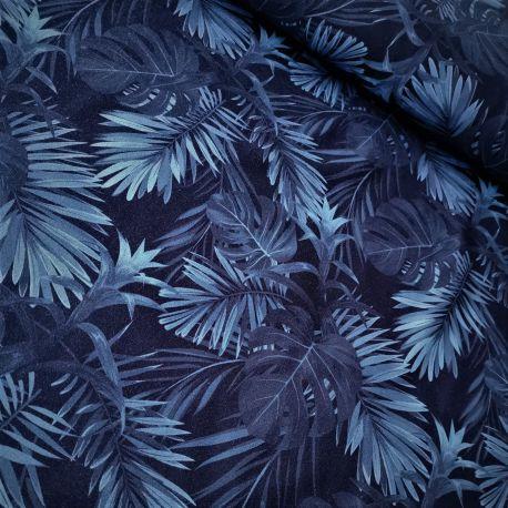 Dzianina pętelka drukowana 0,1 mb - niebieskie liście paproci