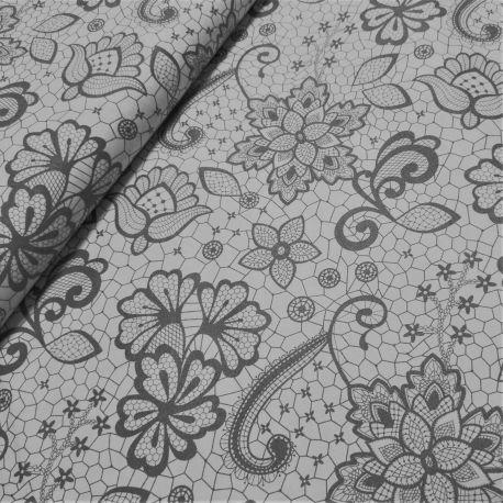 Koronka szary kwiat na bieli 0,1 mb