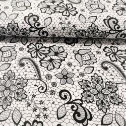 Koronka czarny kwiat na bieli 0,1 mb