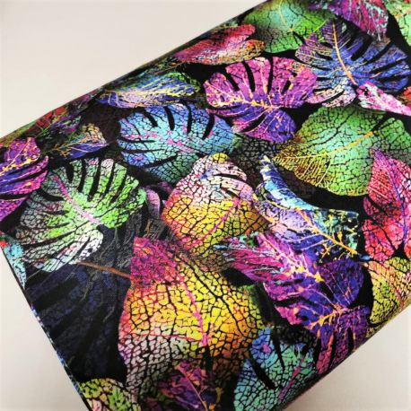 Dzianina pętelka drukowana 0,1 mb - kolorowe liście