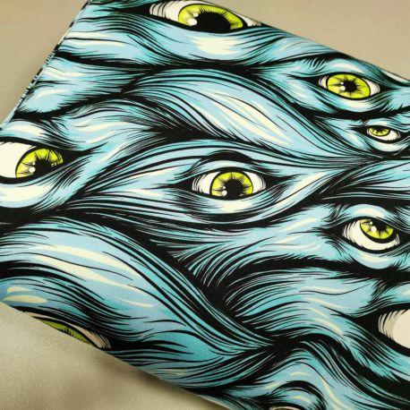 Dzianina pętelka drukowana 0,1 mb - zielone oczko