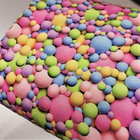 Dzianina pętelka drukowana 0,1 mb - pastelowe kulecki