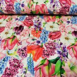 Dzianina jersey drukowana 0,1 mb - ogrodowe kwiaty
