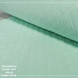 Velvet pikowany w romby 0,1 mb - soft jasna mięta