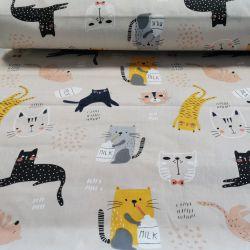 Szalone koty na ciepłej szarości 0,1 mb