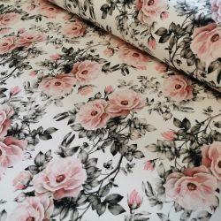 Dzianina pętelka drukowana 0,1 mb - dzika róża w szarych listkach