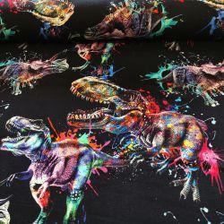 Dzianina pętelka drukowana 0,1 mb - dinozaury na farbie