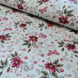 Dzianina jersey drukowana 0,1 mb - kwiatki z różowym motylkiem