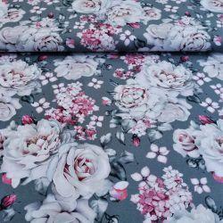 Dzianina jersey drukowana 0,1 mb - barwinek w różach