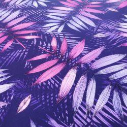 Dzianina pętelka drukowana 0,1 mb - fioletowy liść palmy