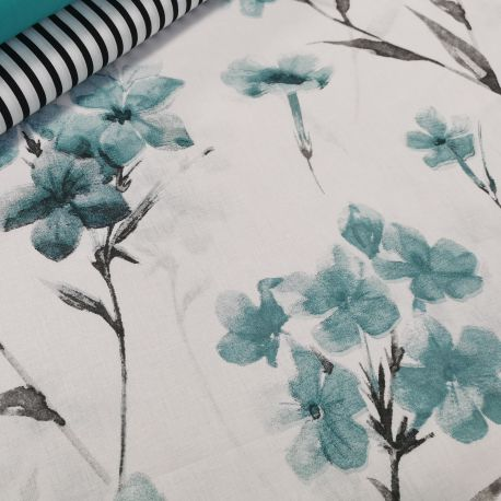 Bawełna - Ulotne kwiatuszki turkus 0,1 mb