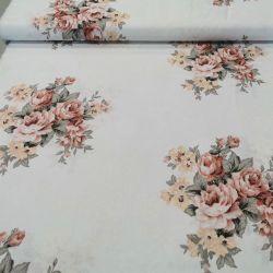Bawełna - Bukiet kwiatów beże 0,1 mb
