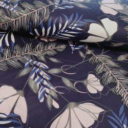 Bawełna - Szare kwiaty na granacie 0,1 mb