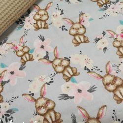 Bawełna - Beżowe króliczki z uszkiem 0,1 mb