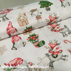 Bawełna - Mikołaj z myszą na bieli 0,1 mb