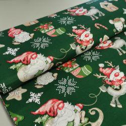 Bawełna - Mikołaj z myszą na zieleni 0,1 mb