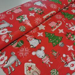 Bawełna - Mikołaj z myszą na czerwonym 0,1 mb