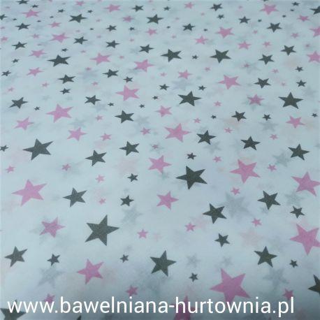 Bawełna - Gwiazdki szaro różowe 0,1 mb