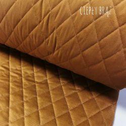 Velvet pikowany w romby 0,1 mb - ciepły brąz
