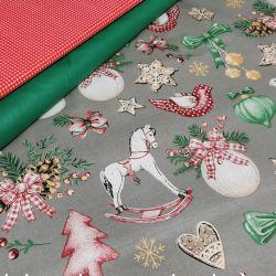 Bawełna - ozdoby świąteczne z koniem na szarym 0,1 mb