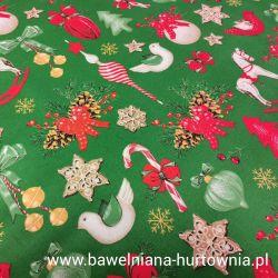 Bawełna - ozdoby świąteczne z koniem na zielonym 0,1 mb