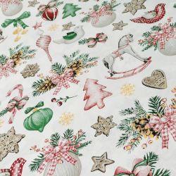 Bawełna - ozdoby świąteczne z koniem na bieli 0,1 mb
