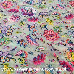 Dzianina pętelka drukowana 0,1 mb - kwiaty kolorowe na szrym